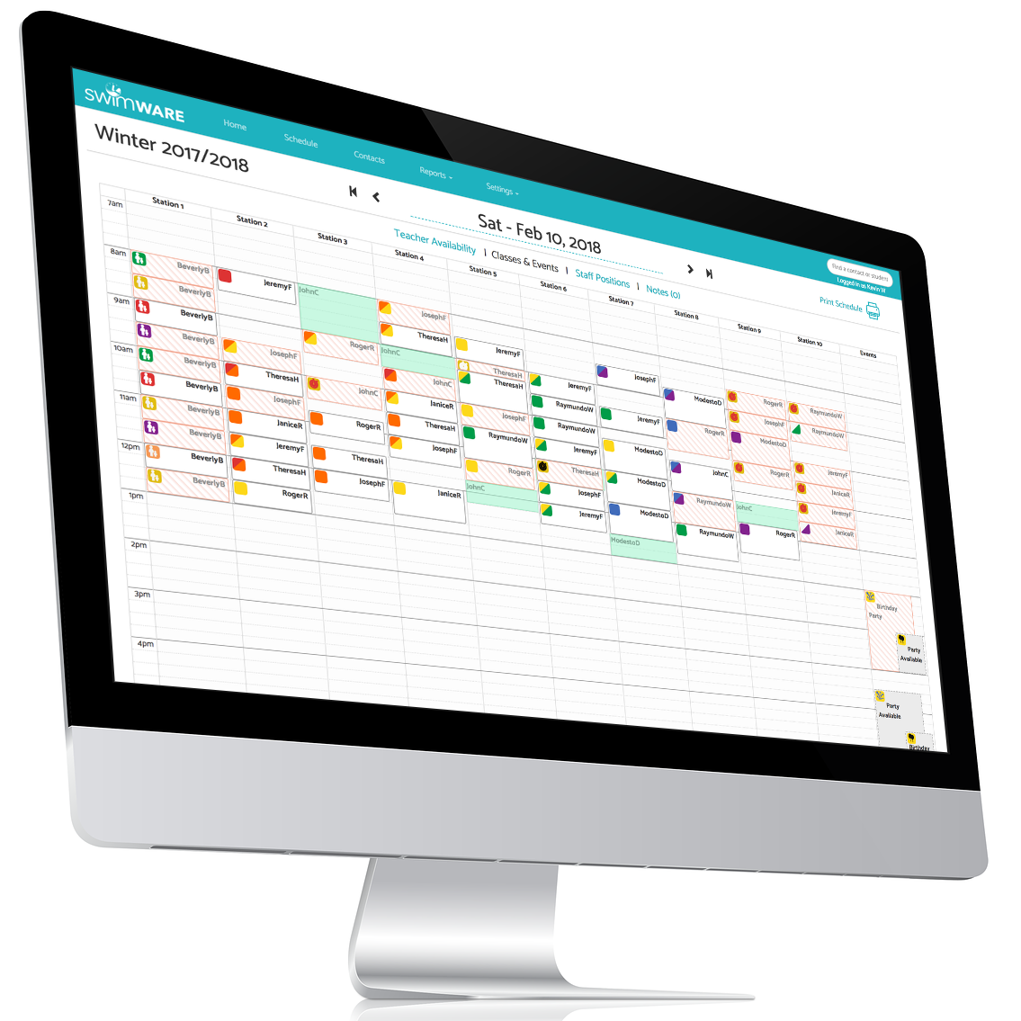 Computer with Schedule Page